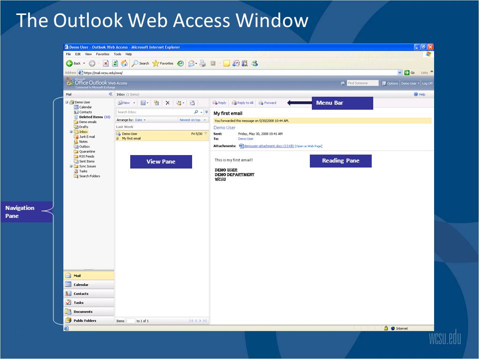 Microsoftoffice Outlook Web Access Training Getting Started Ppt