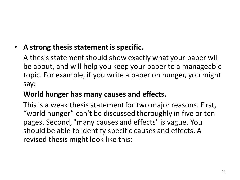 Strong And Weak Thesis Statement Examples Gallery Example Cover