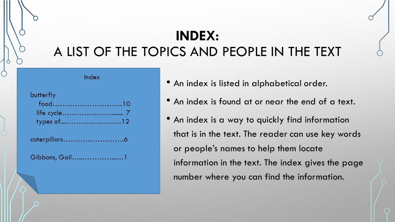 Index: a list of the topics and people in the text