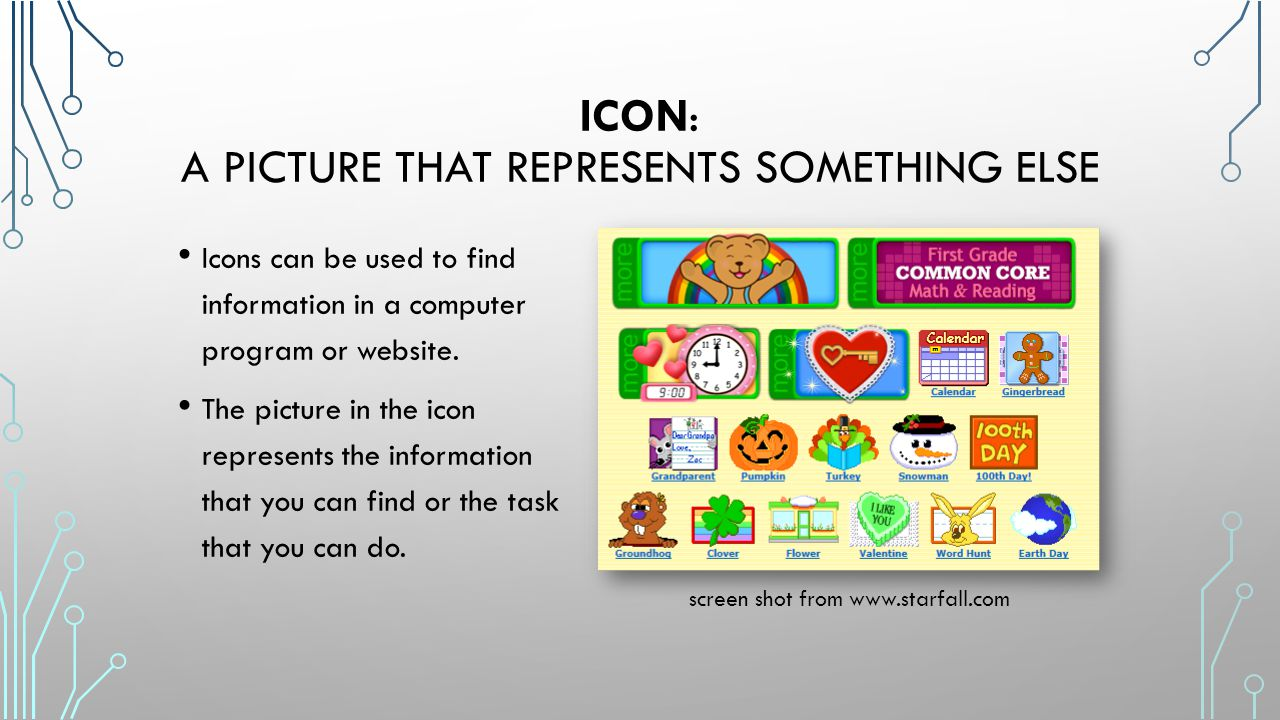 Icon: a picture that represents something else