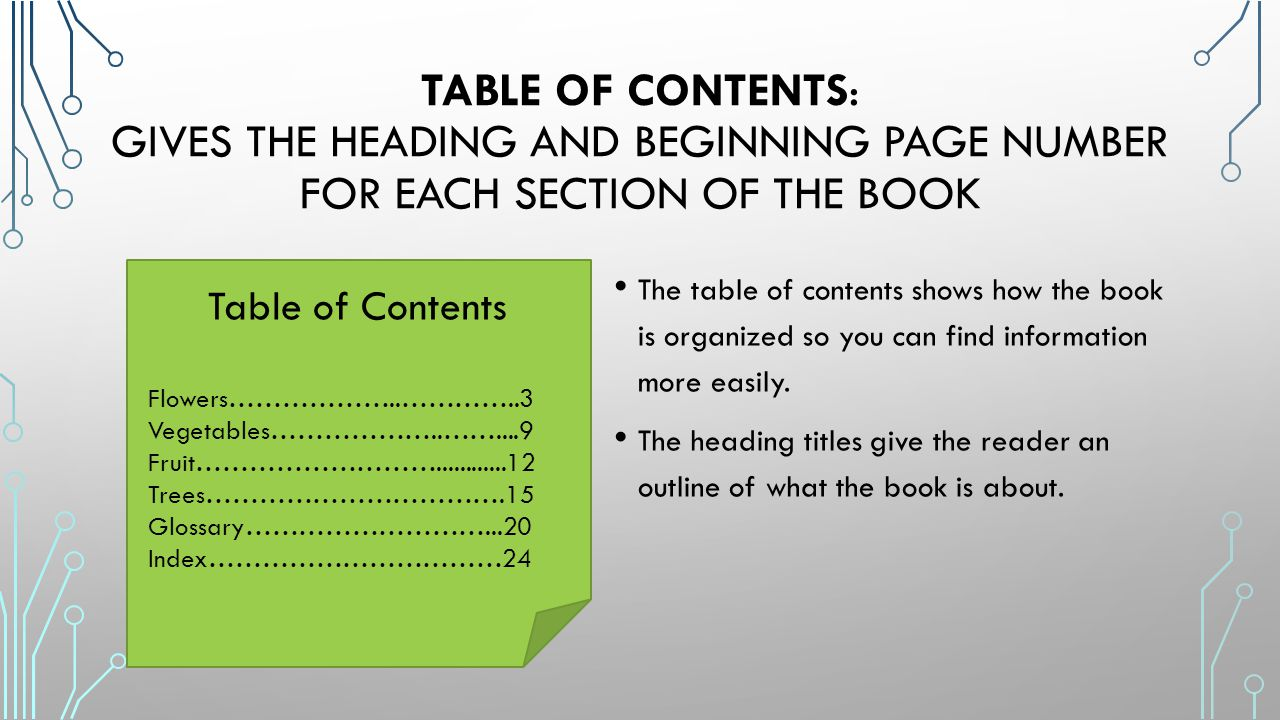 Table of Contents: gives the heading and beginning page number for each section of the book
