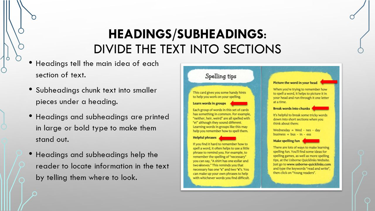 Headings/Subheadings: divide the text into sections