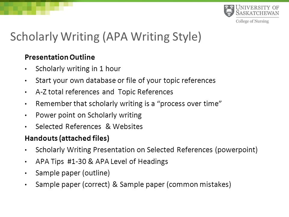 Scholarly Writing APA Writing Style Ppt Download