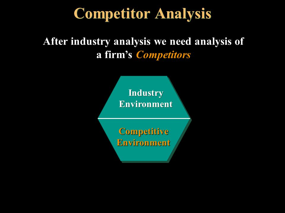 After industry analysis we need analysis of a firm's Competitors