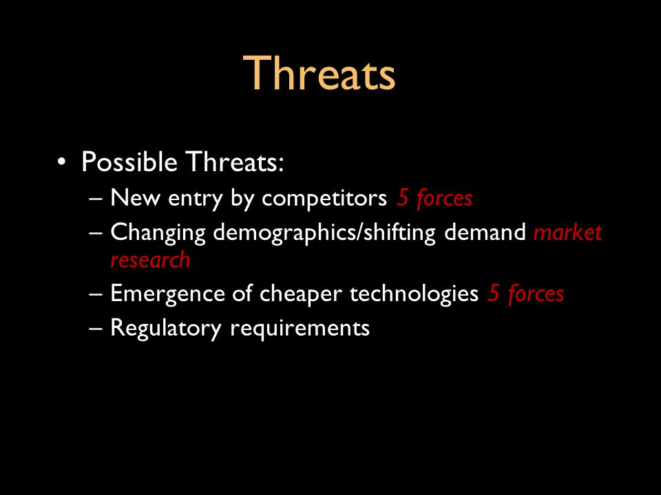 Threats Possible Threats: New entry by competitors 5 forces