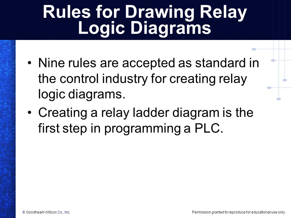 Creating relay logic diagrams ppt download nine rules are accepted as standard in the control industry for creating relay logic diagrams creating a relay ladder diagram is the first step in ccuart Images