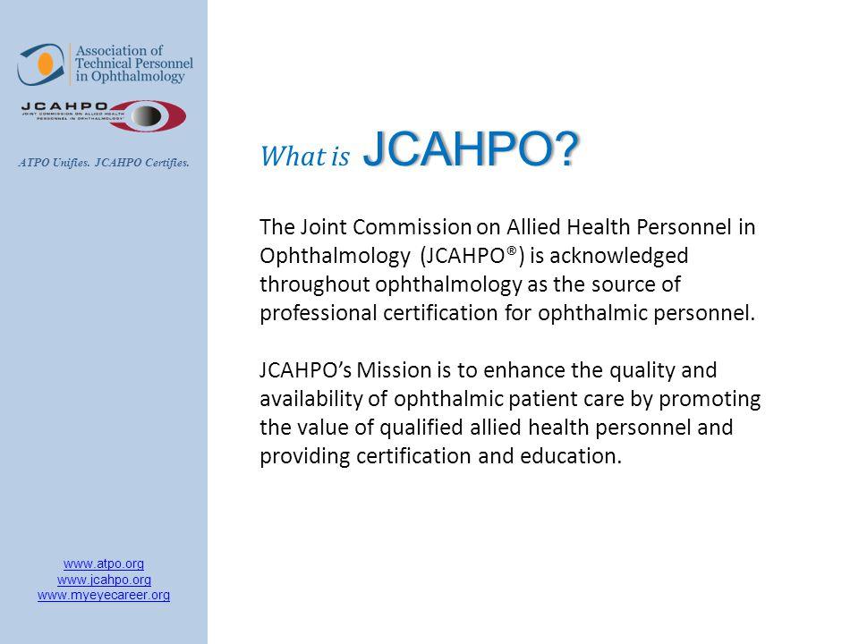 Atpo Unifies Jcahpo Certifies Ppt Video Online Download