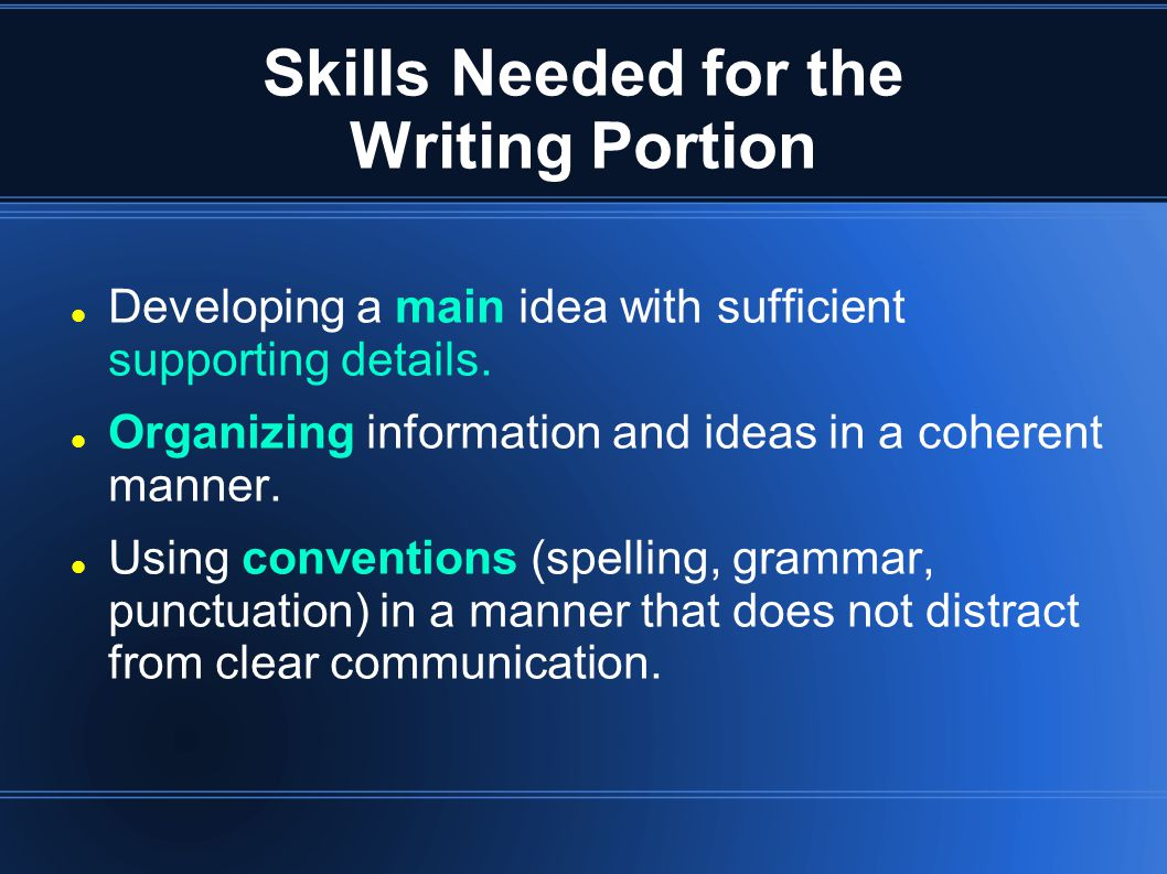 Skills Needed for the Writing Portion