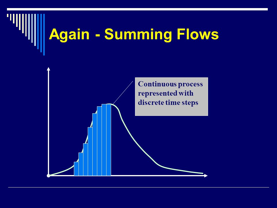 Again - Summing Flows Continuous process represented with discrete time steps