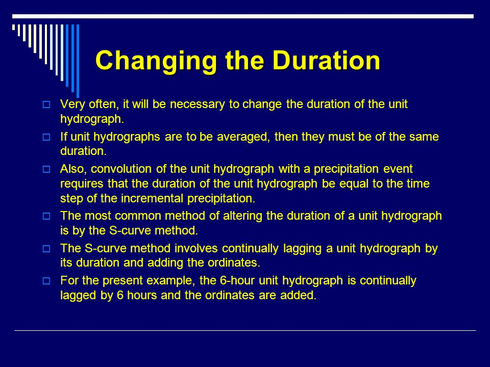 Changing the Duration Very often, it will be necessary to change the duration of the unit hydrograph.