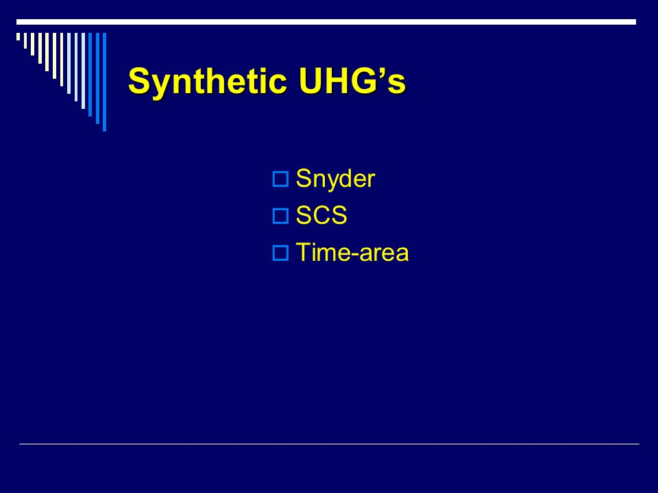 Synthetic UHG's Snyder SCS Time-area