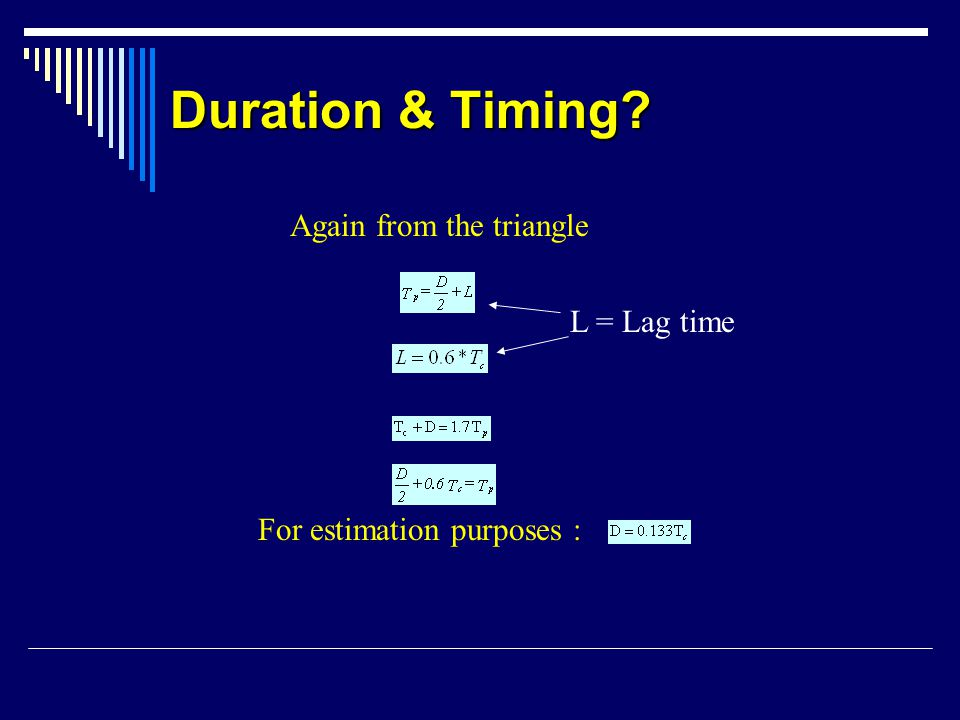 Duration & Timing Again from the triangle L = Lag time