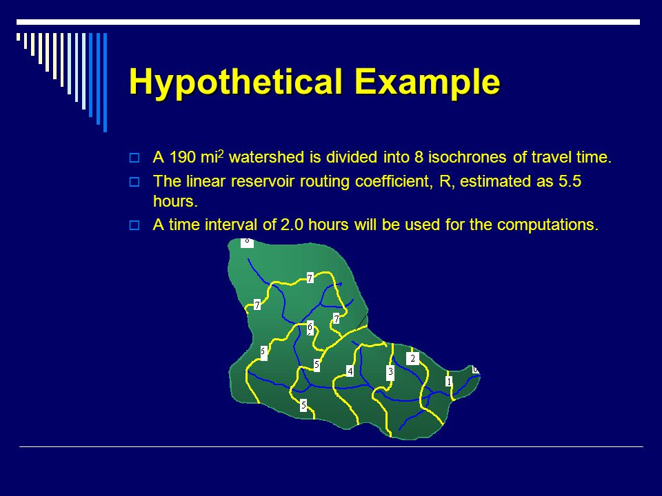 Hypothetical Example A 190 mi2 watershed is divided into 8 isochrones of travel time.