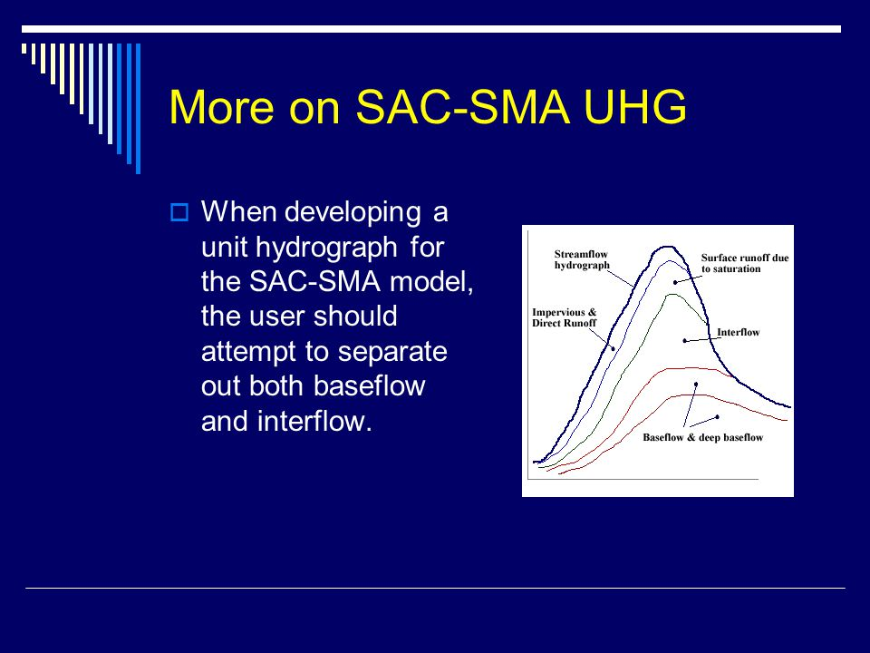 More on SAC-SMA UHG When developing a unit hydrograph for the SAC-SMA model, the user should attempt to separate out both baseflow and interflow.