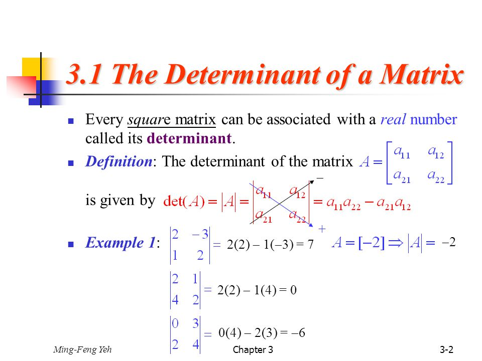 how to find determinate of matrix