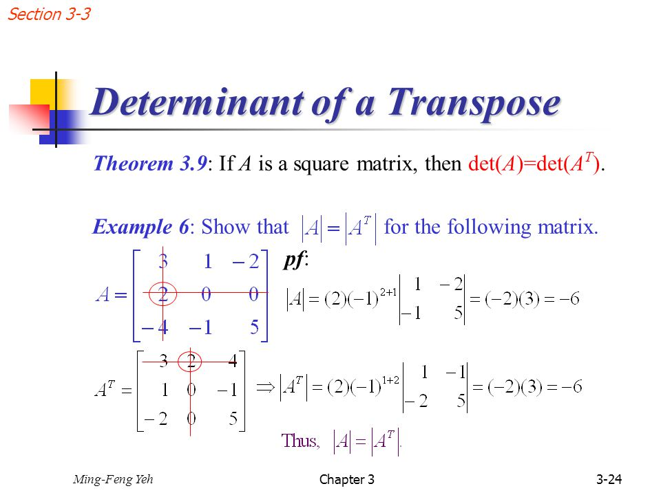 how to find the determinant of a matrix