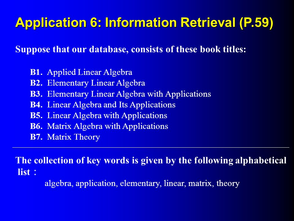 Application 6: Information Retrieval (P.59)