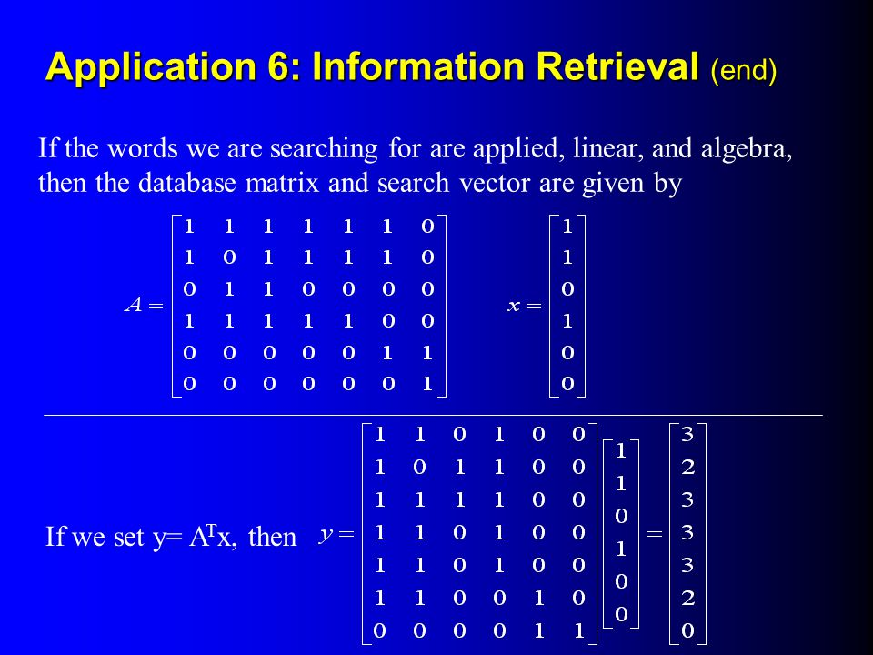 Application 6: Information Retrieval (end)