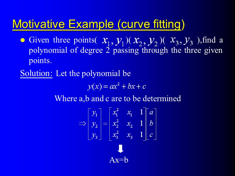 Motivative Example (curve fitting)