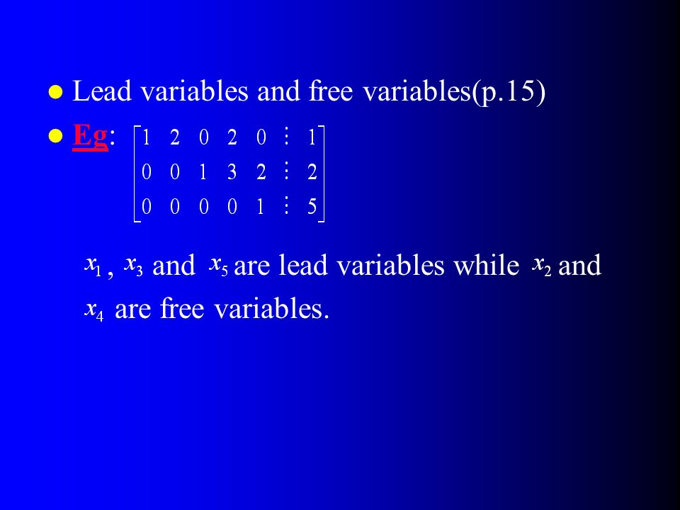 Lead variables and free variables(p.15)
