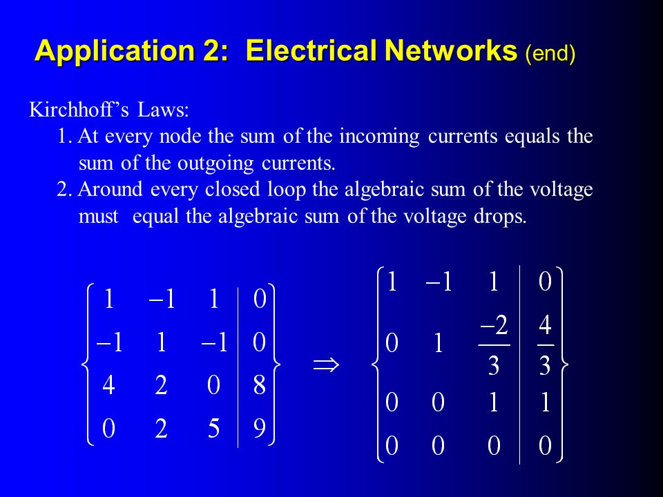 Application 2: Electrical Networks (end)