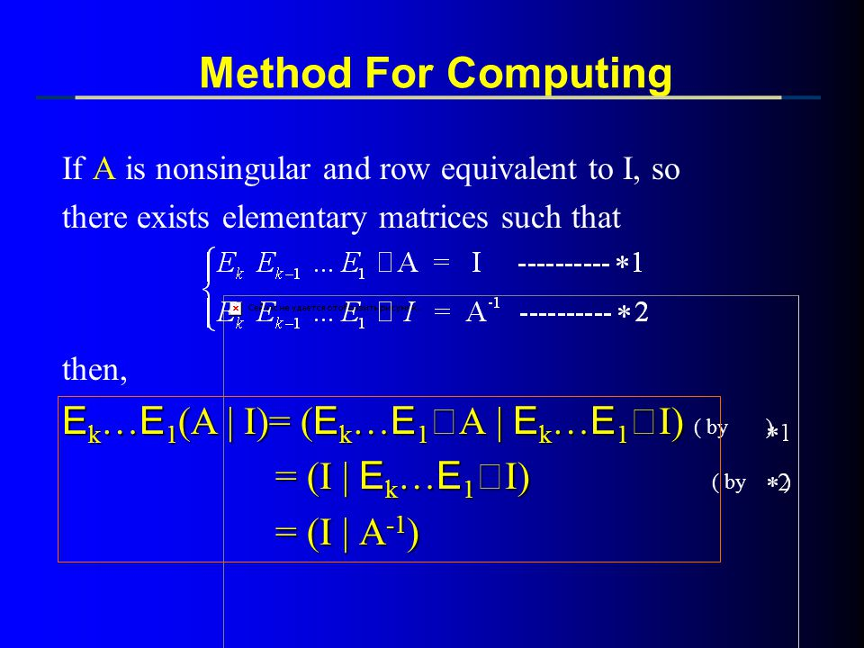 Method For Computing = (I | Ek…E1‧I) ( by ) = (I | A-1)