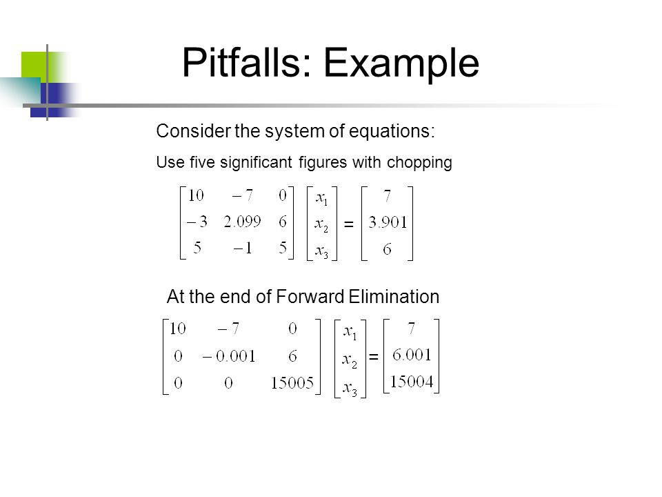 Pitfalls: Example Consider the system of equations: =