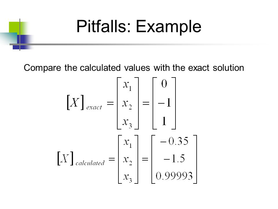 Pitfalls: Example Compare the calculated values with the exact solution