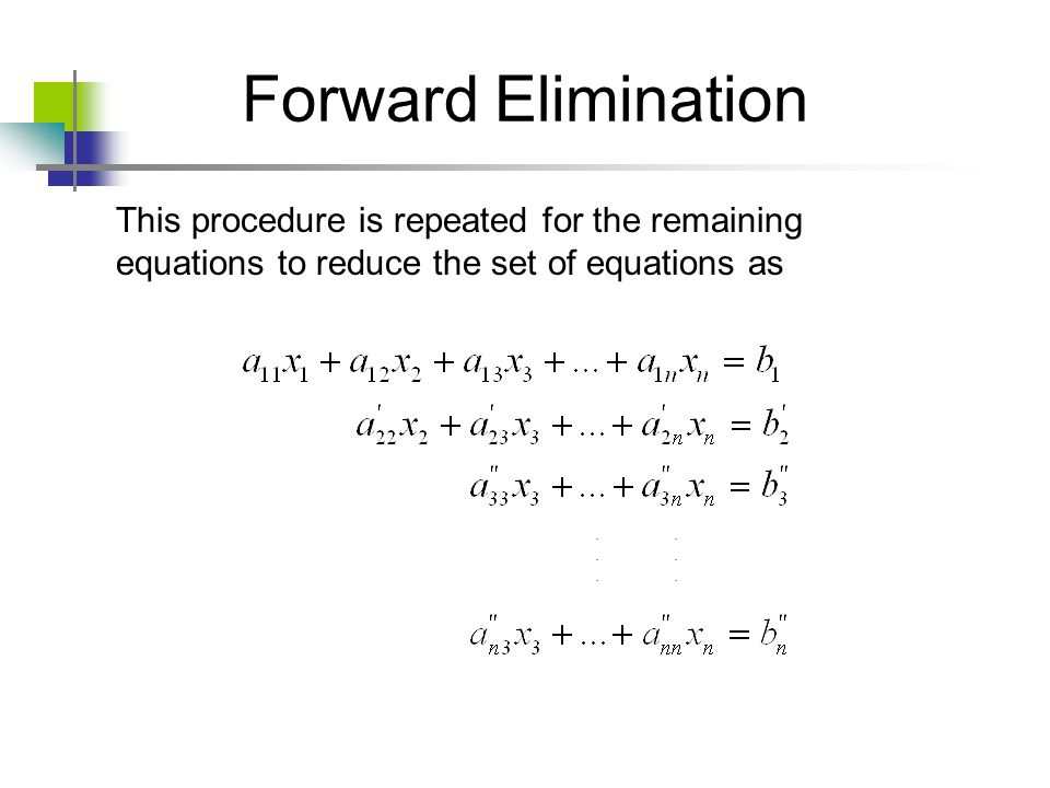 Forward Elimination This procedure is repeated for the remaining equations to reduce the set of equations as.