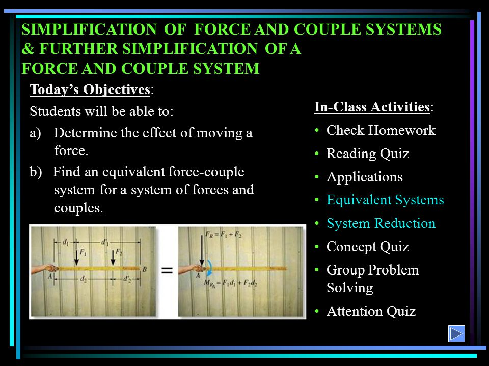SIMPLIFICATION OF FORCE AND COUPLE SYSTEMS & FURTHER SIMPLIFICATION OF A FORCE AND COUPLE SYSTEM