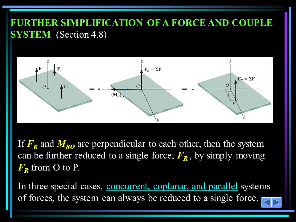 FURTHER SIMPLIFICATION OF A FORCE AND COUPLE SYSTEM (Section 4.8)