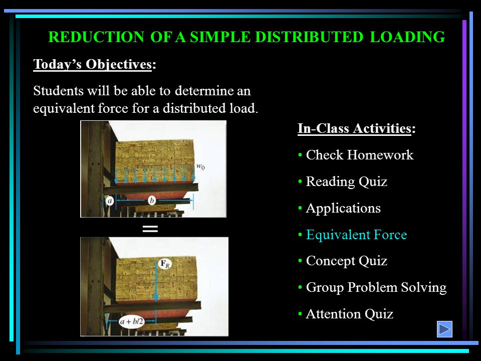 REDUCTION OF A SIMPLE DISTRIBUTED LOADING
