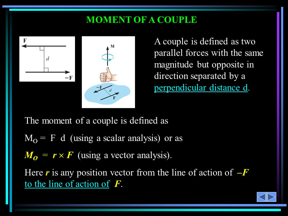The moment of a couple is defined as