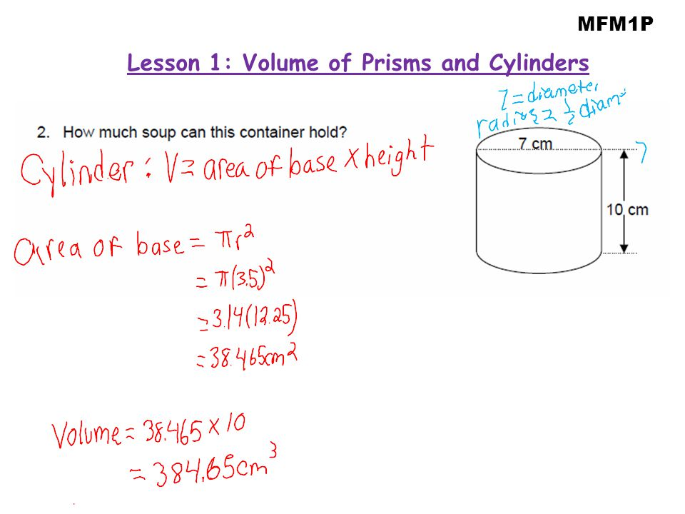 Lesson 1: Volume of Prisms and Cylinders