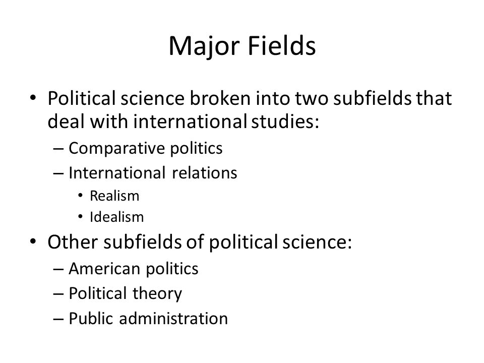 Major Fields Political science broken into two subfields that deal with international studies: Comparative politics.