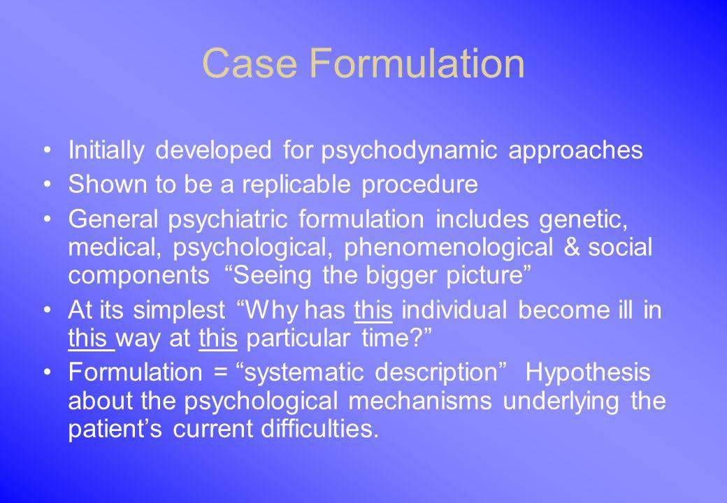 how to prepare a psychodynamic formulation