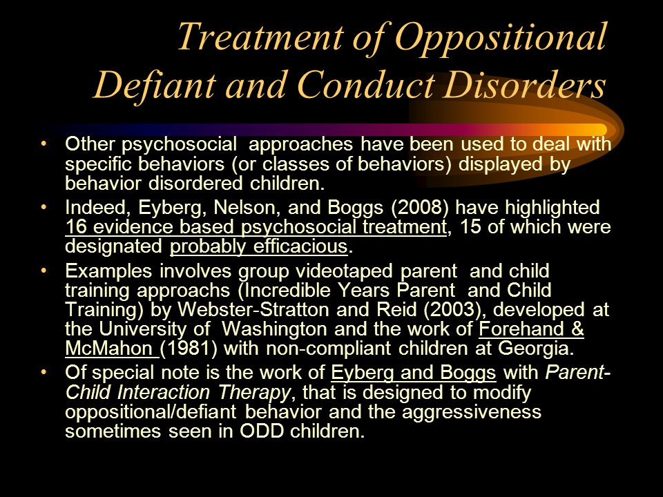 Oppositional Defiant Disorder Treatment Plan Sample