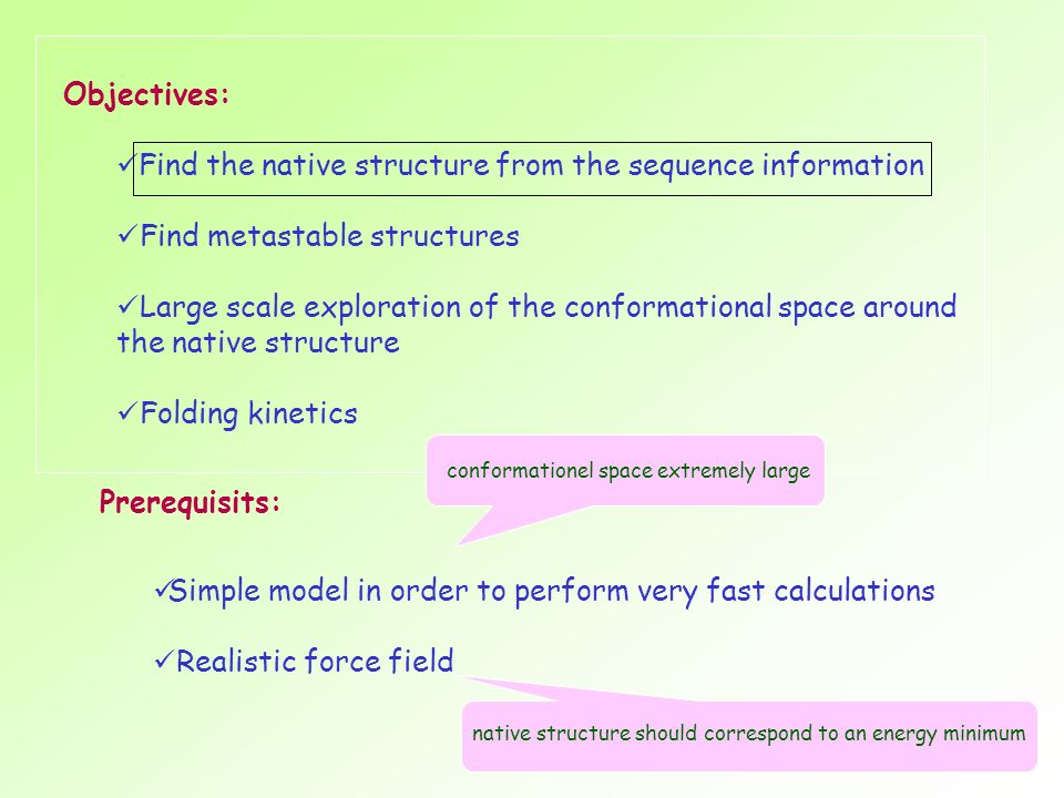Find the native structure from the sequence information