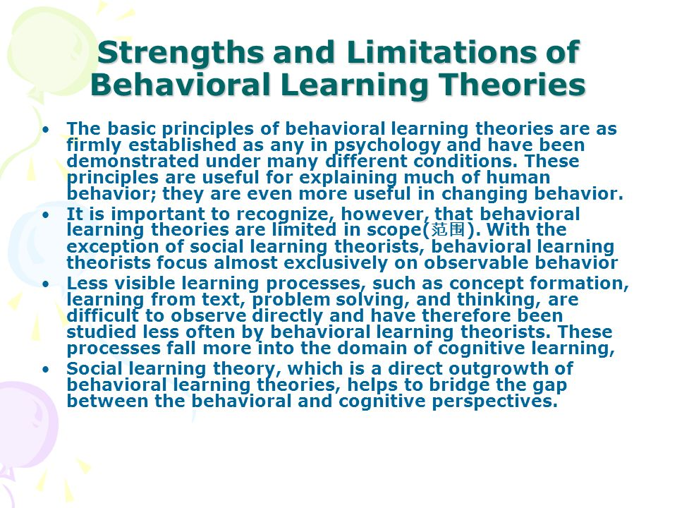 limitations of behavioral theory