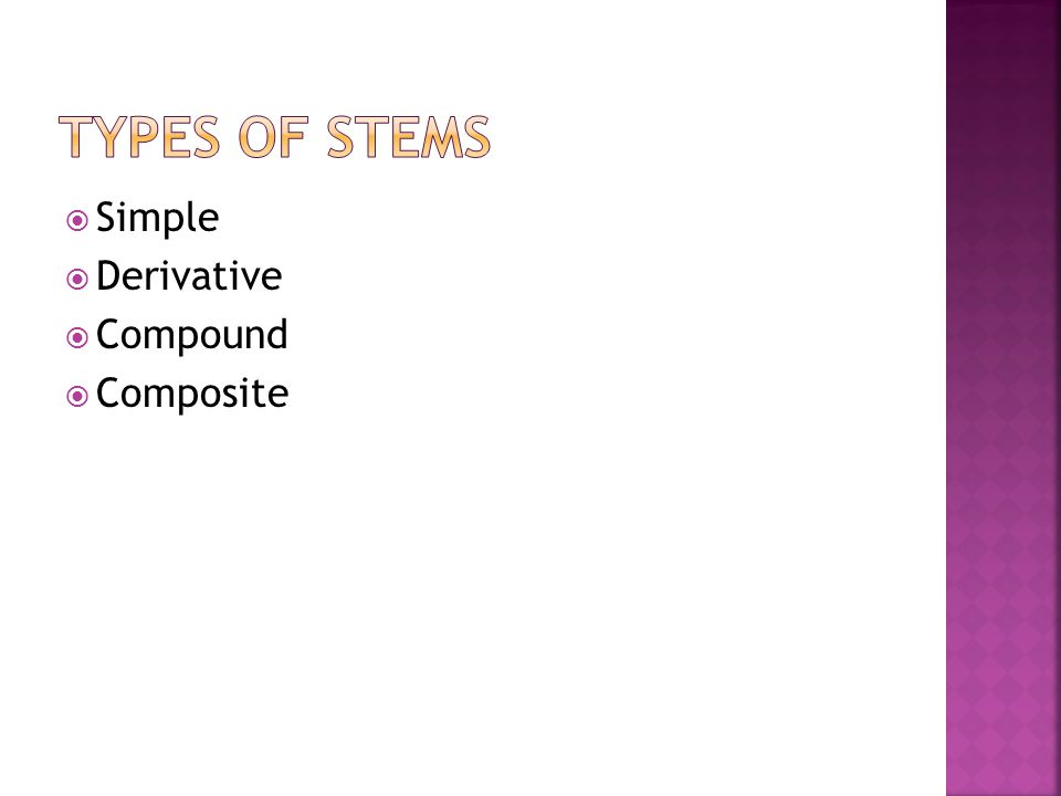 Types of stems Simple Derivative Compound Composite