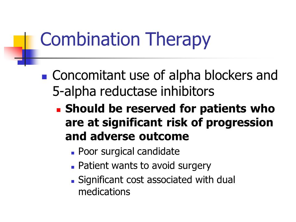 Combination Therapy Concomitant Use Of Alpha Blockers And 5 Alpha Reductase Inhibitors