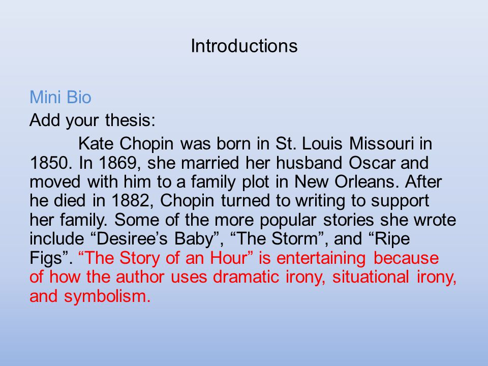 thesis statement for kate chopins the story of an hour