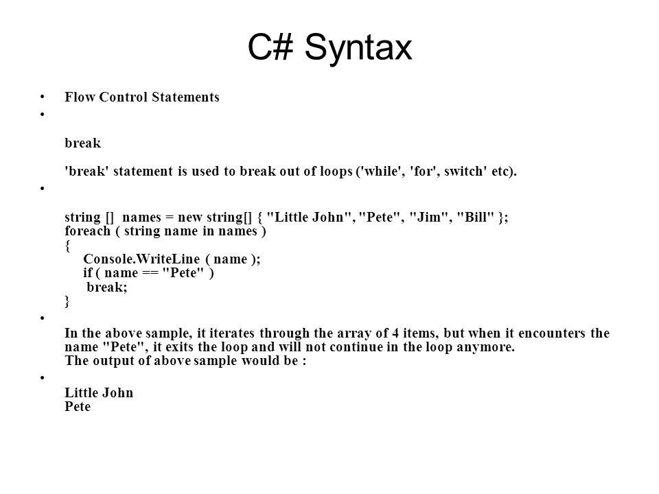 c# switch break
