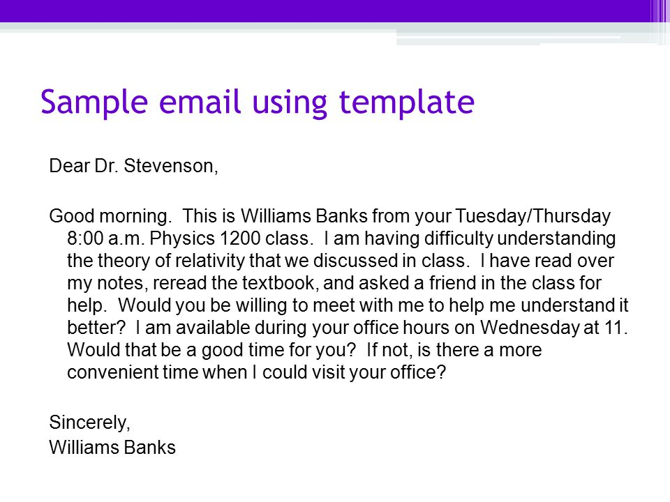 8 sample email using template