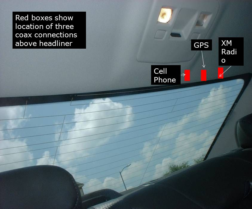 Red boxes show location of three coax connections above headliner