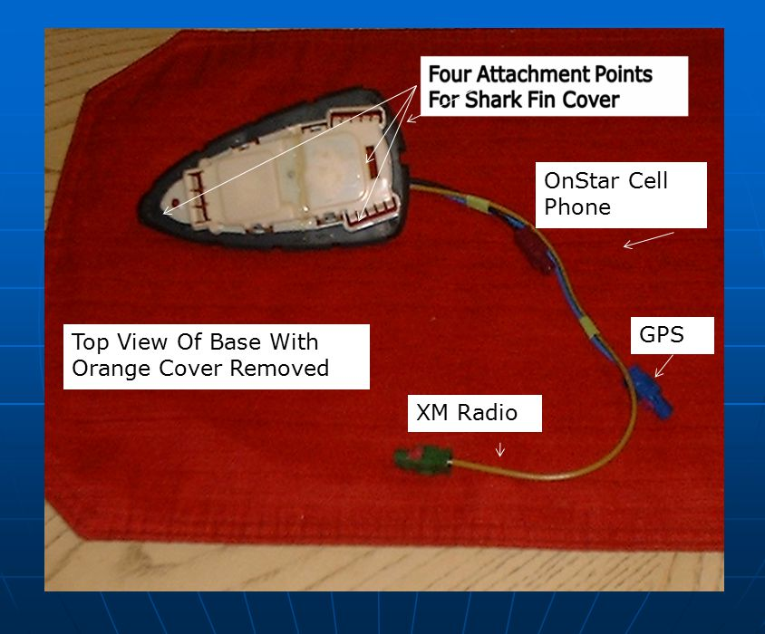 OnStar Cell Phone GPS Top View Of Base With Orange Cover Removed XM Radio