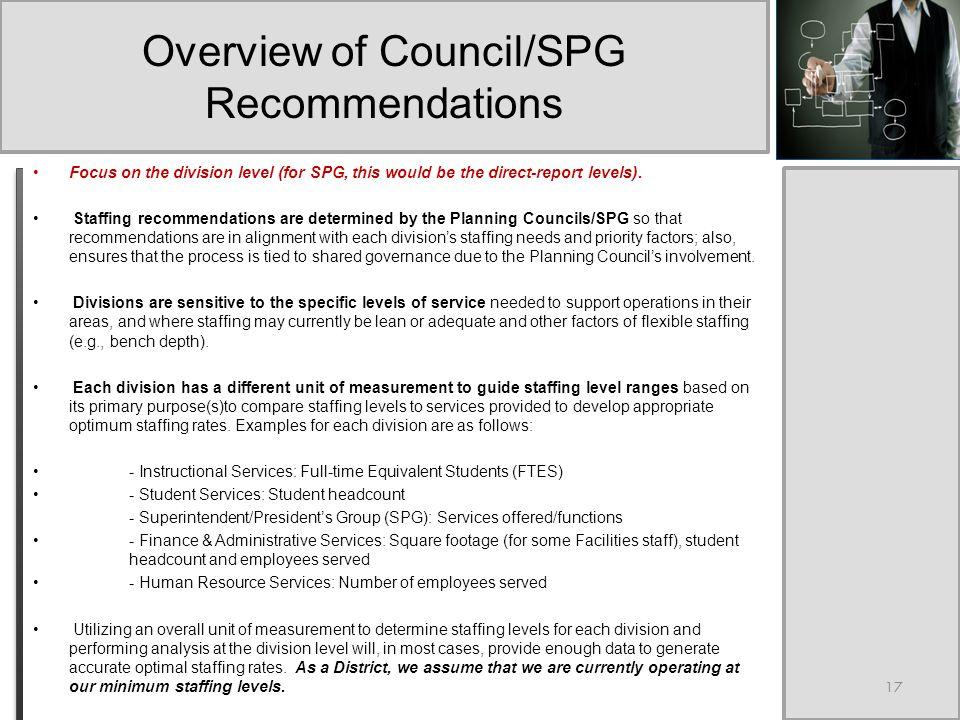 The Staffing Master Plan Addendum, Year 2: Council/SPG