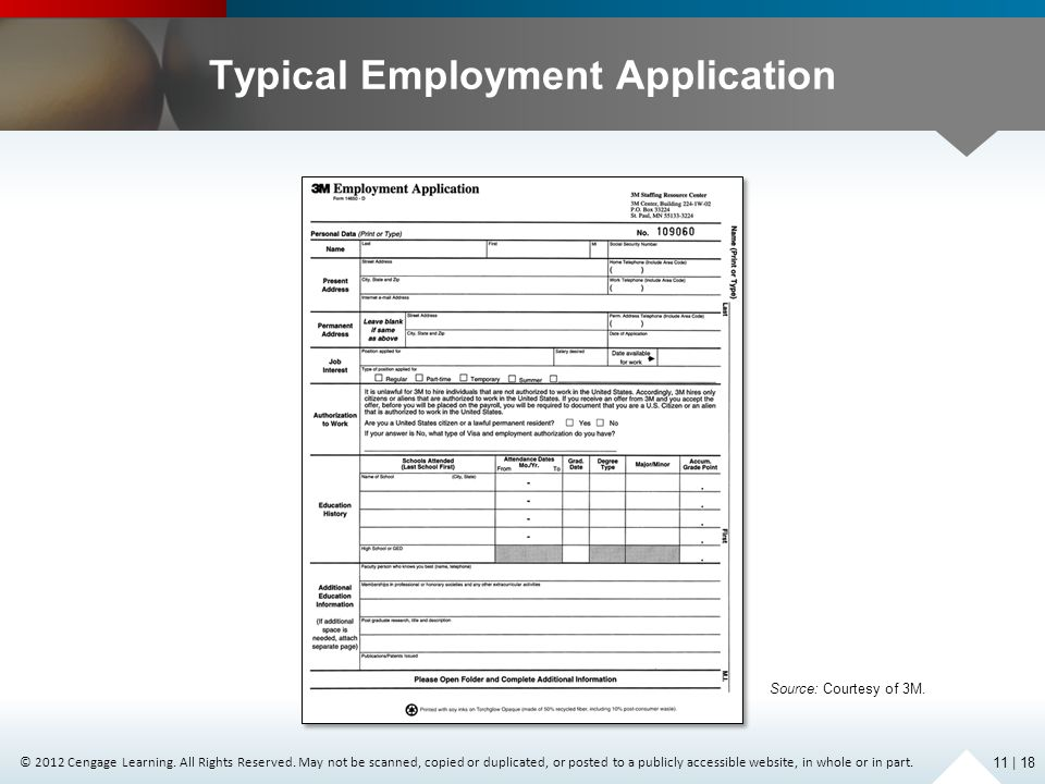Typical Employment Application