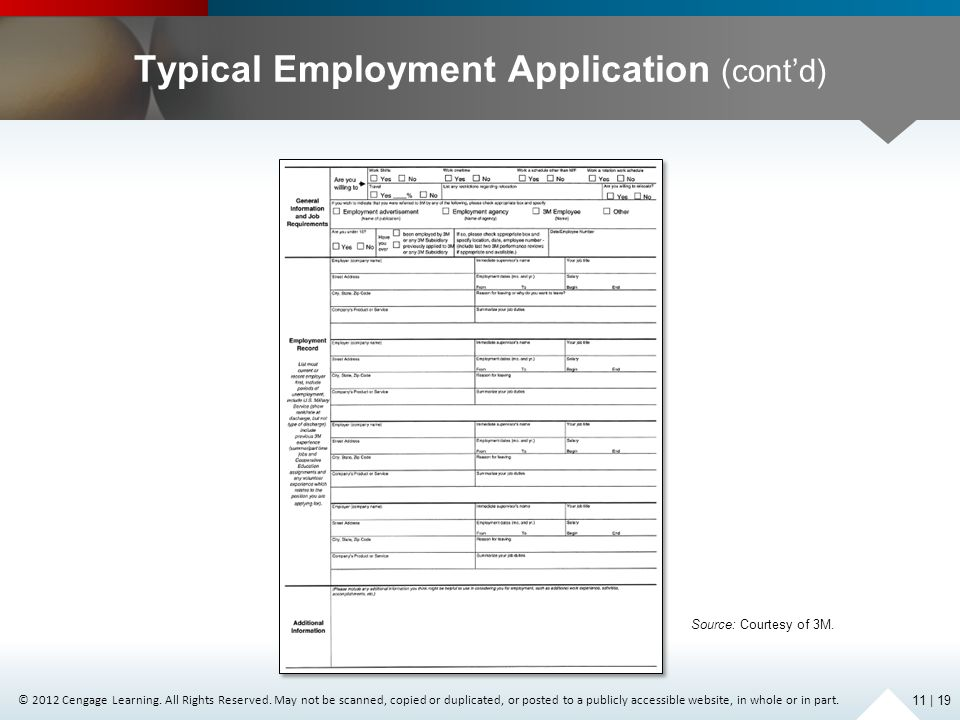 Typical Employment Application (cont'd)