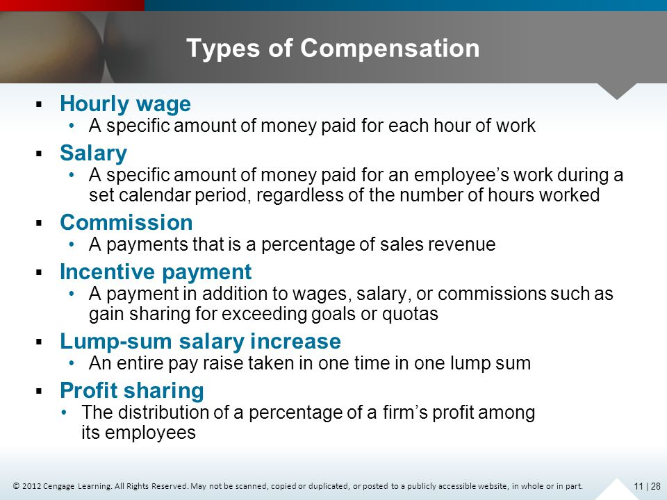 Types of Compensation Hourly wage Salary Commission Incentive payment